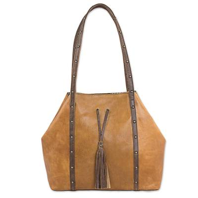 Leather shoulder bag, 'Monaco' - Artisan Crafted Dual Toned Leather Bag from Mexico