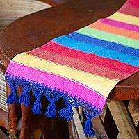 Cotton table runner, 'Shimmering Rainbow' - Mexican Colorful 100% Cotton Artisan Crafted Table Runner