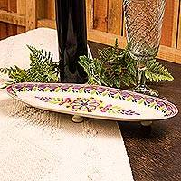 Majolica ceramic serving platter, 'Mexican Lavender' - Majolica Ceramic Long Oval 15-in Platter in Purple on White