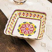 Majolica ceramic serving bowl, 'Square Mexican Lavender' - Purple and Yellow Majolica Ceramic Square Serving Bowl