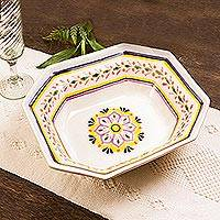 Majolica ceramic serving bowl, 'Octagonal Mexican Lavender' - Octagonal Majolica Ceramic Serving Bowl in Purple and Yellow