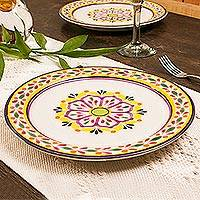 Majolica ceramic dinner plates, 'Mexican Lavender' (pair) - Purple and Yellow Majolica Ceramic Dinner Plates (Pair)