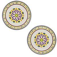 Majolica ceramic dessert plates, 'Mexican Lavender' (pair) - Set of Two Handcrafted Majolica Ceramic Dessert Plates