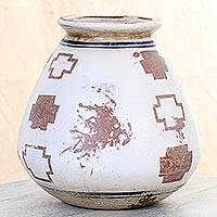 Ceramic decorative vase, 'Norse Crosses' - Hand Crafted Rustic Ceramic Vase with Norse Cross Motif