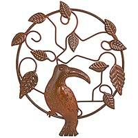 Iron wall sculpture, 'Toucan Forest' - Toucan Bird Theme Artisan Crafted Iron Wall Sculpture