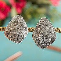 Sterling silver button earrings, 'Crumpled Diamonds' - Artisan Crafted Taxco Sterling Silver Button Earrings