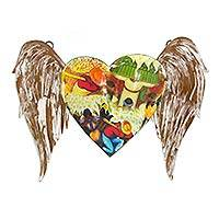Iron wall sculpture, 'Diego's Floral Winged Heart' - Diego Rivera Images Mexican Heart Sculpture from Mexico