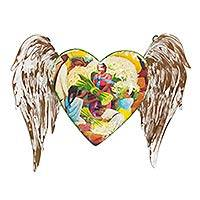 Iron wall sculpture, 'Diego Rivera Heart with Wings' - Diego Rivera Painting Mexican Heart Wall Sculpture