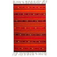 Zapotec wool rug, 'Embers of Fire' (6.5x10.5) - Red Handwoven Authentic Zapotec Rug from Mexico (6.5x10.5)
