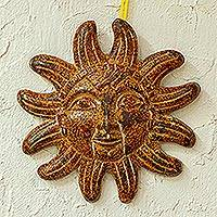 Ceramic wall sculpture, 'Sayula Sun' (10 inch) - Ceramic Artisan Crafted 10-Inch Sun Sculpture for the Wall