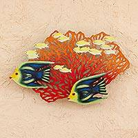 Steel wall art, 'Coral Fan Fiesta' - Artisan Crafted Wall Sculpture with Fish and Coral