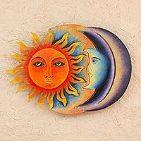 Steel wall art, 'Festive Eclipse' - Colorful Steel Sun and Moon Eclipse Wall Art Sculpture