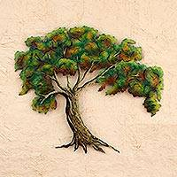 Steel wall art, 'Changing Seasons' - Mexico Artisan Crafted Tree Theme Steel Wall Art