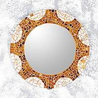 Glass mosaic wall mirror, 'Earth and Sun' (14 inch) - Handcrafted Circular Glass Mosaic Wall Mirror (14 Inch)