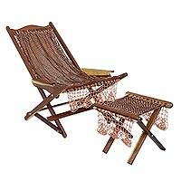 Maya hammock deck chair and footstool, 'Cinnamon Coffee' - Mexican Maya Deck Chair and Footstool Set in Browns