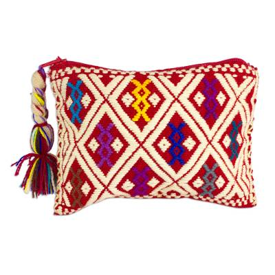 100% Cotton 5-inch Hand Woven Coin Purse from Chiapas