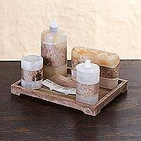 Onyx bath set, 'Nature's Bath' (6 piece set) - Multicolored 6 Piece Onyx Stone Bath Set from Mexico