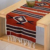 Wool table runner, 'Oaxacan Winter' - Blue Burgundy and Ecru 100% Wool Oaxacan Table Runner