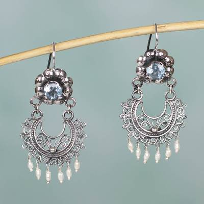 Blue topaz and cultured pearl chandelier earrings, 'Mazahua Lady' - Silver Mazahua Style Blue Topaz and Cultured Pearl Earrings