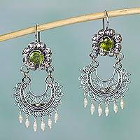 Peridot and cultured pearl chandelier earrings, 'Mazahua Lady' - Authentic Mazahua Earrings with Peridot and Cultured Pearls
