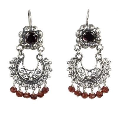 Sterling Silver Mazahua Style Garnet Chandelier Earrings
