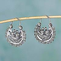 Sterling silver hoop earrings, 'Mazahua Lovebirds' - Artisan Crafted Silver Mazahua Style Sterling Hoop Earrings