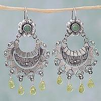 Peridot and turquoise chandelier earrings, 'Fluttering Leaves' - Turquoise Peridot Sterling Silver Dangle Earrings Mexico