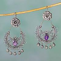 Amethyst chandelier earrings, 'Mazahua Elegance' - Sterling Silver Mazahua Engagement Earrings with Amethyst