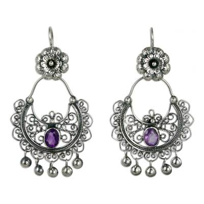 Sterling Silver Mazahua Engagement Earrings with Amethyst