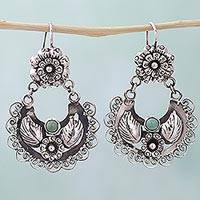 Turquoise dangle earrings, 'Floral Thoughts' - Hand Made Sterling Silver Turquoise Dangle Earrings Mexico