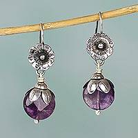 Amethyst dangle earrings, 'Budding Amethyst' - Hand Crafted Amethyst and Sterling Silver Dangle Earrings