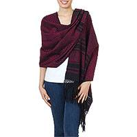 Cotton rebozo shawl, 'Zapotec Fiesta in Fuchsia' - Zapotec Handwoven Rebozo Shawl in Black and Fuchsia