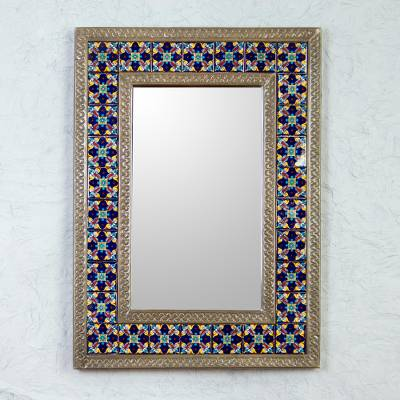 Tin and ceramic wall mirror, 'Blue Sapphire' - Tin Wall Mirror with Mexican Blue Floral Ceramic Tiles