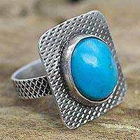 Turquoise cocktail ring, 'Blue Window' - Turquoise and Sterling Silver Cocktail Ring from Mexico