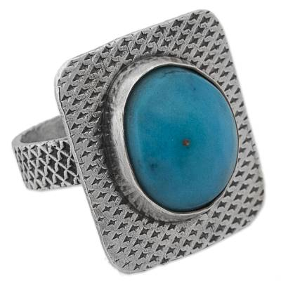 Turquoise and Sterling Silver Cocktail Ring from Mexico