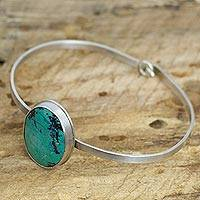 Chrysocolla bangle bracelet, 'Mountain Lagoon' - Sterling Silver and Chrysocolla Handcrafted Bangle Bracelet
