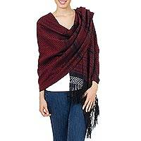 Cotton rebozo shawl, 'Grand Entrance in Red' - Artisan Crafted 100% Cotton Shawl in Red and Black