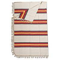 Cotton bedspread, 'Desert Sunset' (full/queen) - Hand Woven Zapotec Striped Bedspread (Full/Queen)