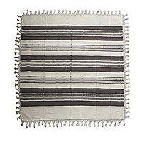 Cotton tablecloth, 'Striped Dining' - Hand Woven Cotton Tablecloth with Tassels from Mexico