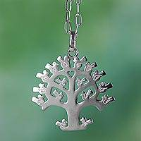 Sterling silver pendant necklace, 'Lovebird Tree' - Mexican Sterling Silver Tree Theme Necklace with Birds