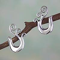 Sterling silver drop earrings, 'Mexican Nightingale' - Handcrafted Mexican Sterling Silver Bird Earrings