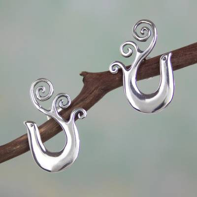 Sterling silver drop earrings, Mexican Nightingale