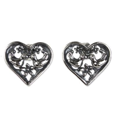 Handcrafted Heart Shaped Sterling Silver Bird Earrings