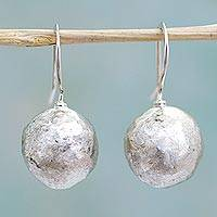 Sterling silver drop earrings, 'Nature's Treasures' - Hand Made Sterling Silver Round Drop Earrings from Mexico