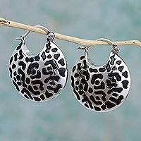 Sterling silver hoop earrings, 'Life of the Jaguar' - Hand Made Sterling Silver Spot Hoop Earrings from Mexico