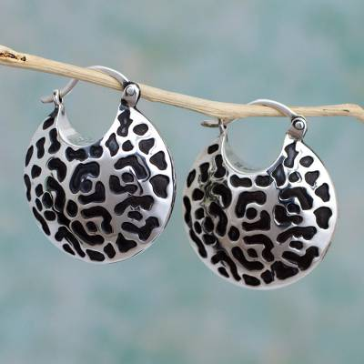 Sterling silver hoop earrings, Life of the Jaguar