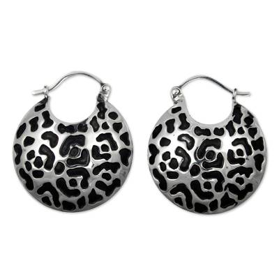 Hand Made Sterling Silver Spot Hoop Earrings from Mexico