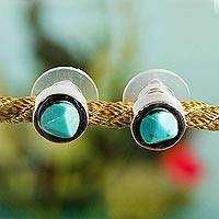 Turquoise stud earrings, 'Mayan Heritage' - Sterling Silver and Turquoise Stud Earrings from Mexico