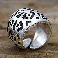 Sterling silver wrap ring, 'Jaguar Path' - Wide Taxco Silver Wrap Ring Handcrafted in Mexico