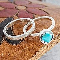 Turquoise and sterling silver stacking rings, Sky Glow (pair)